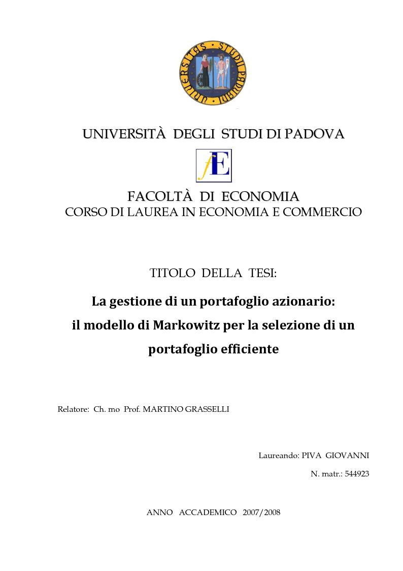 Anteprima della tesi: La gestione di un portafoglio azionario: il modello di Markowitz per la selezione di un portafoglio efficiente, Pagina 1