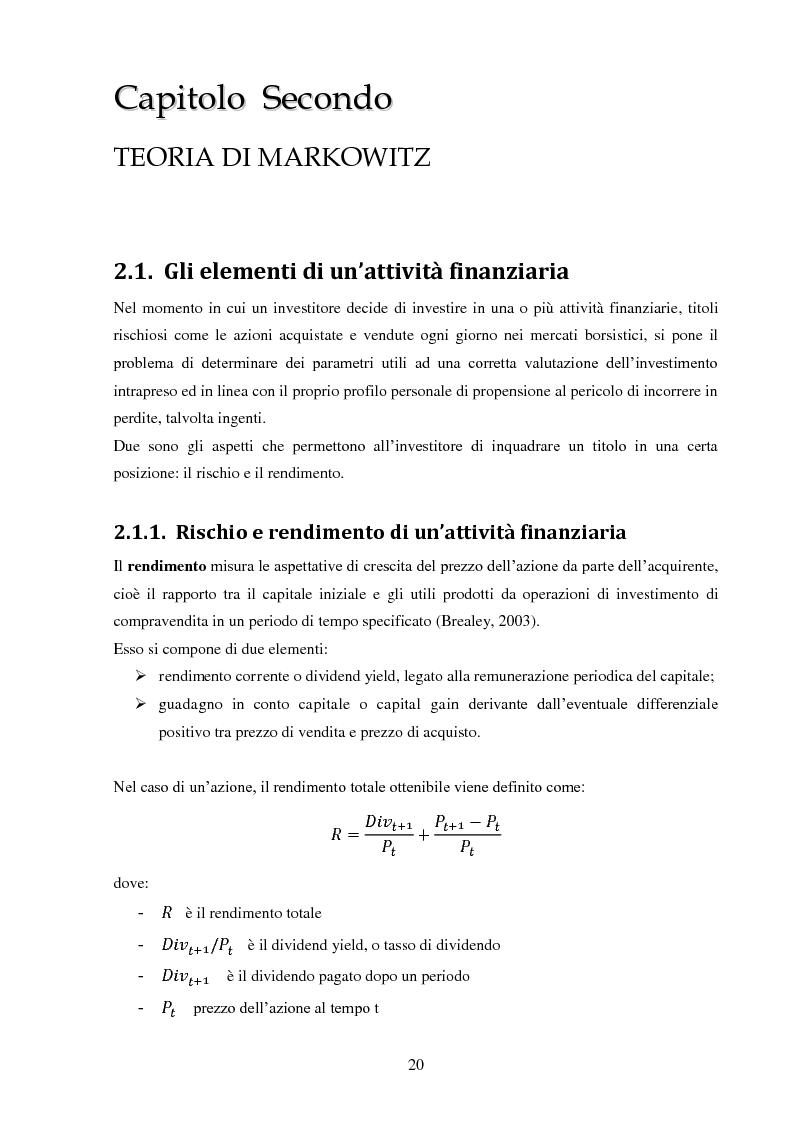 Anteprima della tesi: La gestione di un portafoglio azionario: il modello di Markowitz per la selezione di un portafoglio efficiente, Pagina 2