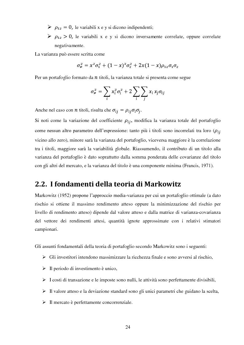 Anteprima della tesi: La gestione di un portafoglio azionario: il modello di Markowitz per la selezione di un portafoglio efficiente, Pagina 6