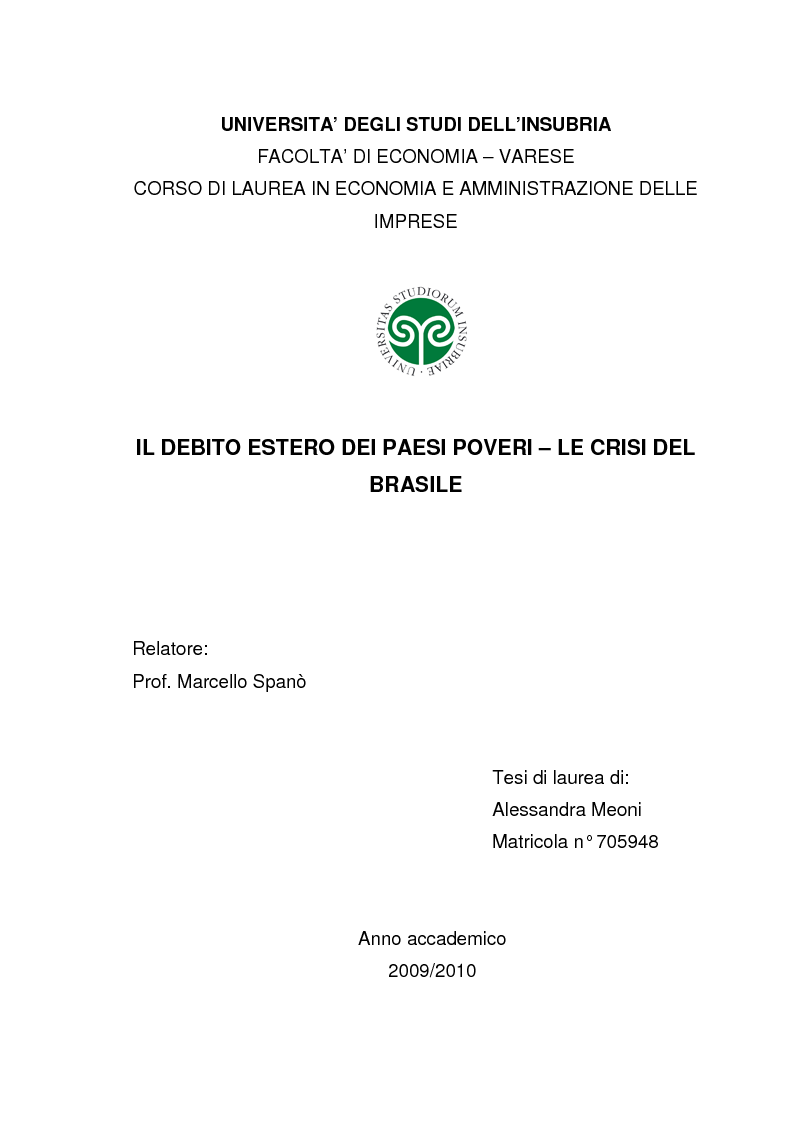Anteprima della tesi: Il debito estero dei paesi poveri - le crisi del Brasile, Pagina 1