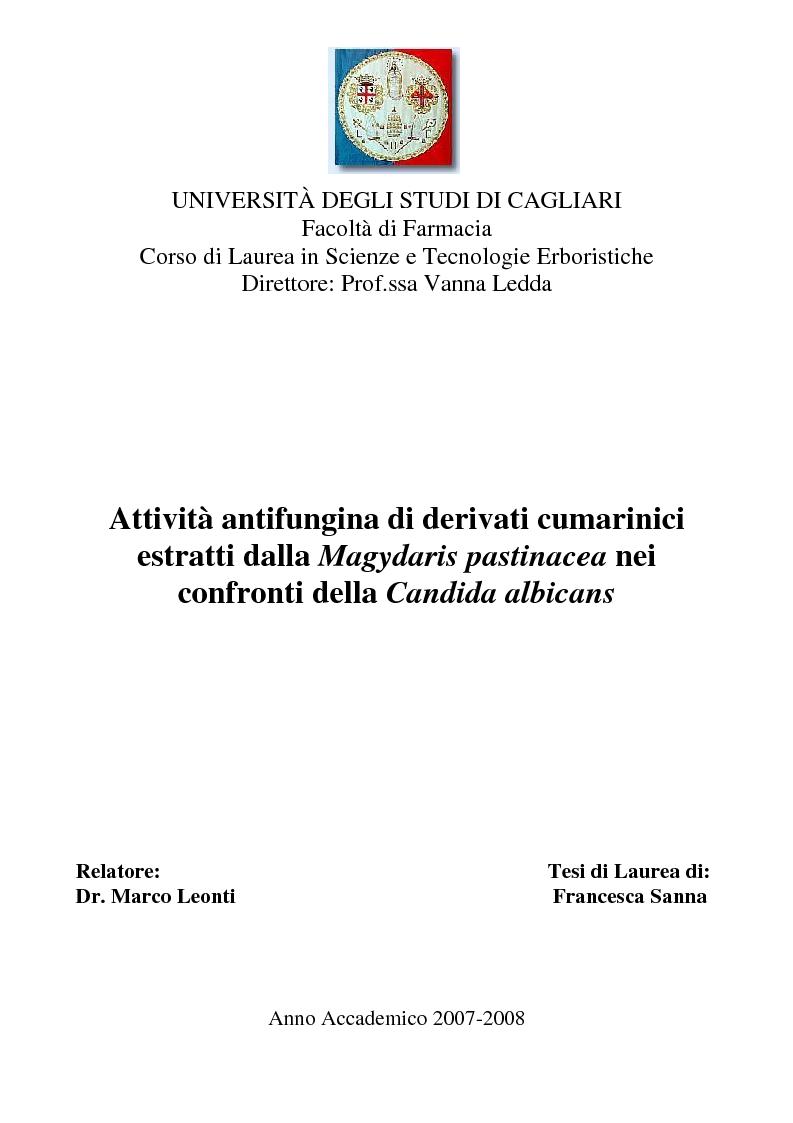 Anteprima della tesi: Attività antifungina di derivati cumarinici estratti da Magydaris pastinacea nei confronti di Candida albicans, Pagina 1