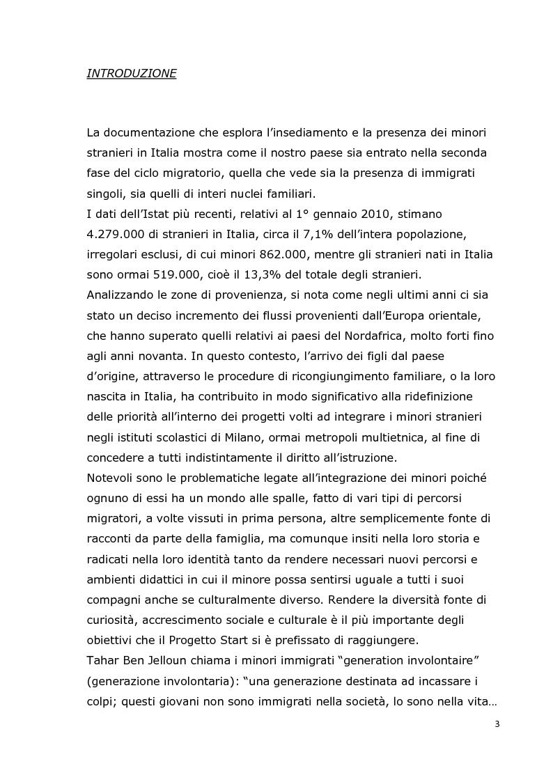 Anteprima della tesi: Integrazione dei minori stranieri nelle scuole milanesi: il progetto Start, Pagina 2