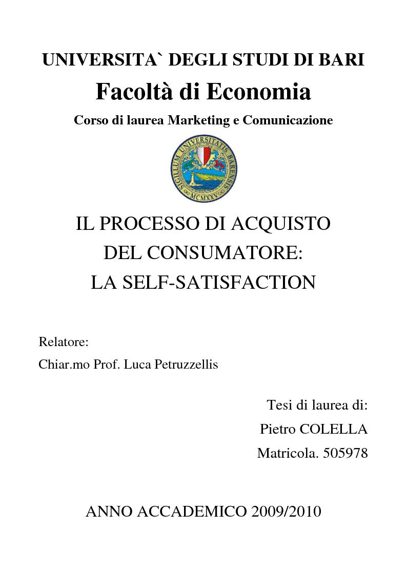 Anteprima della tesi: Il processo di acquisto del consumatore: la self-satisfaction, Pagina 1