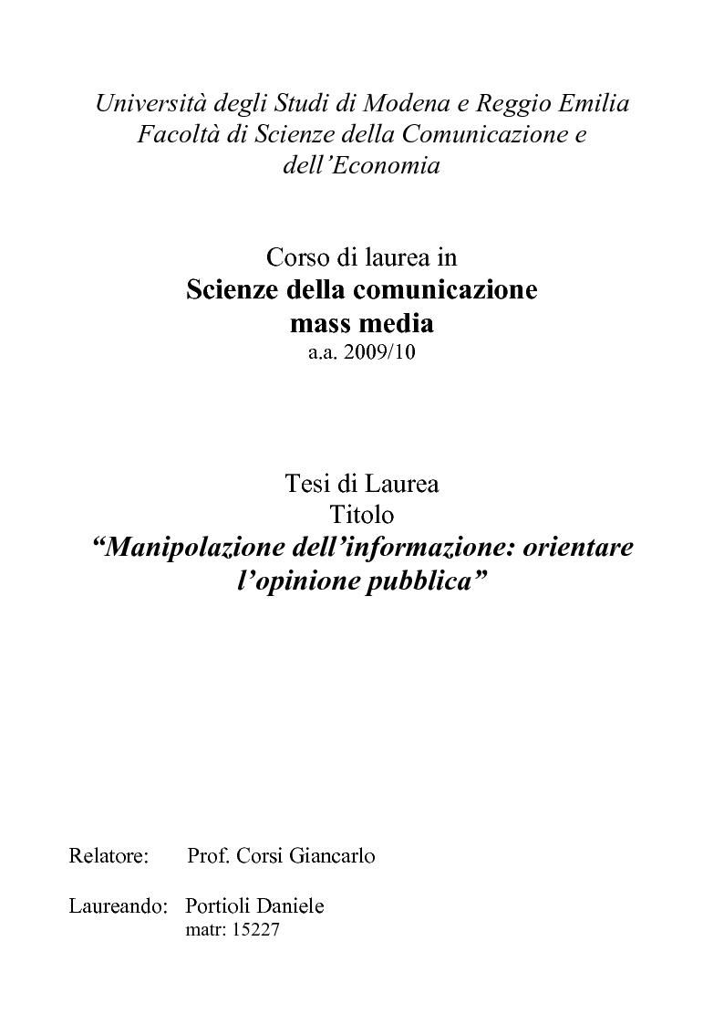 Anteprima della tesi: Manipolazione dell'informazione: orientare l'opinione pubblica, Pagina 1