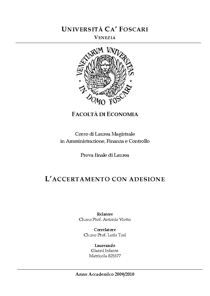 Anteprima della tesi: L'accertamento con adesione, Pagina 1