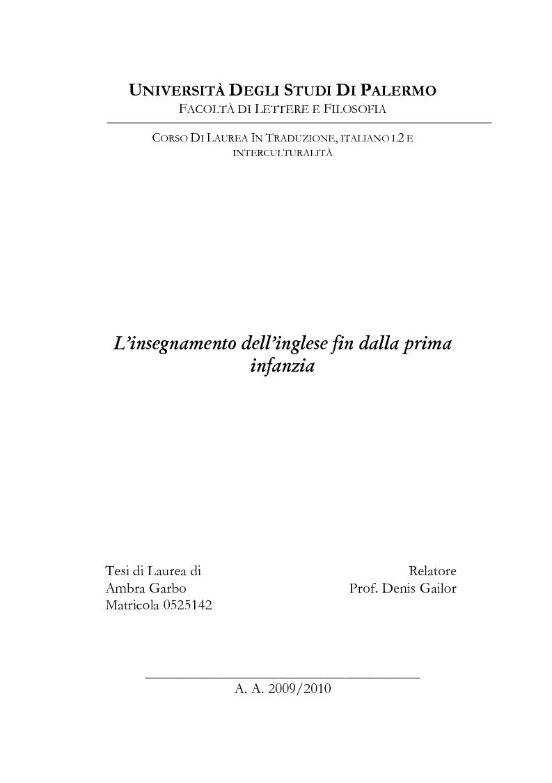 Anteprima della tesi: L'insegnamento dell'inglese fin dalla prima infanzia, Pagina 1