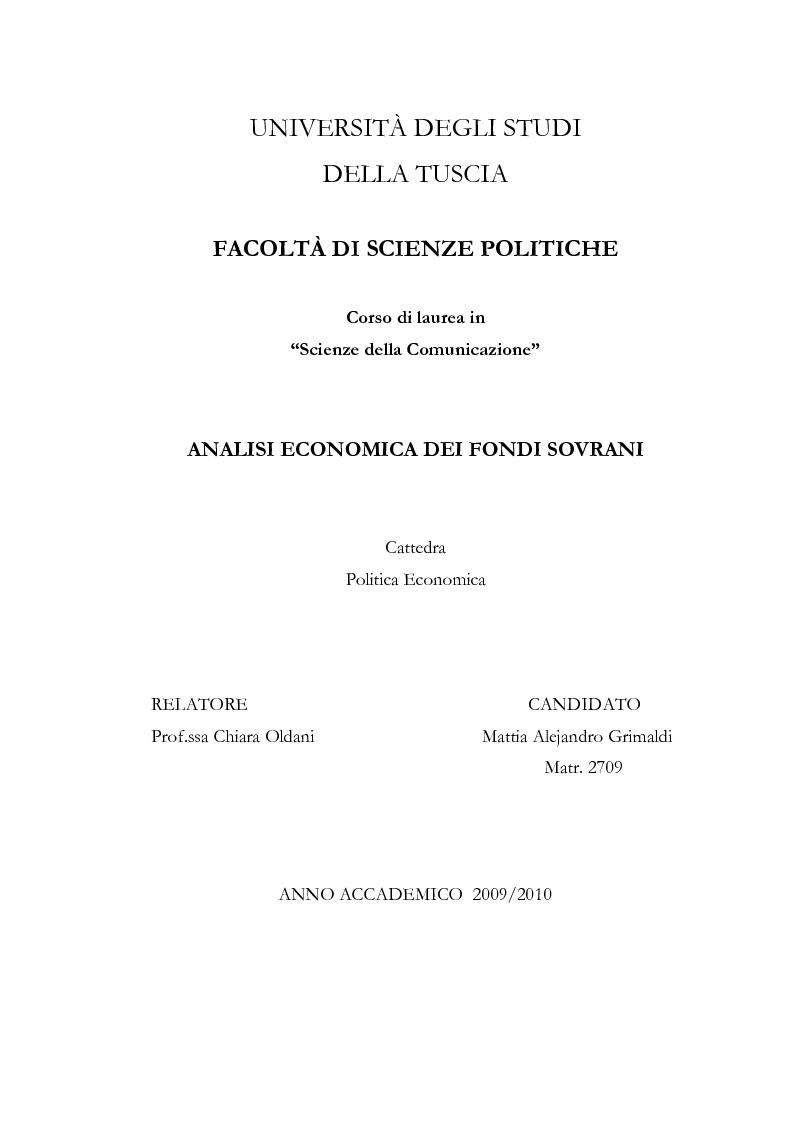 Anteprima della tesi: Analisi economica dei fondi sovrani, Pagina 1