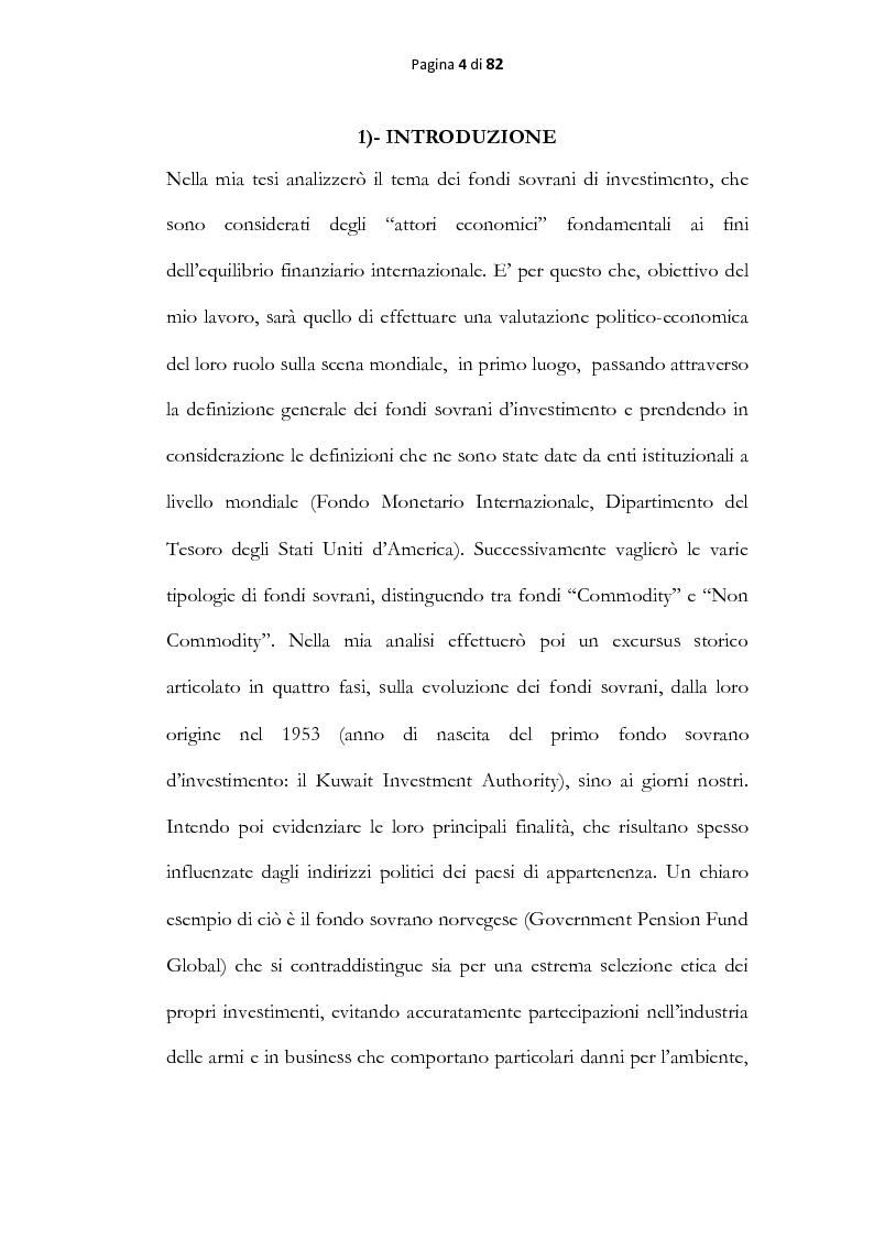 Anteprima della tesi: Analisi economica dei fondi sovrani, Pagina 2