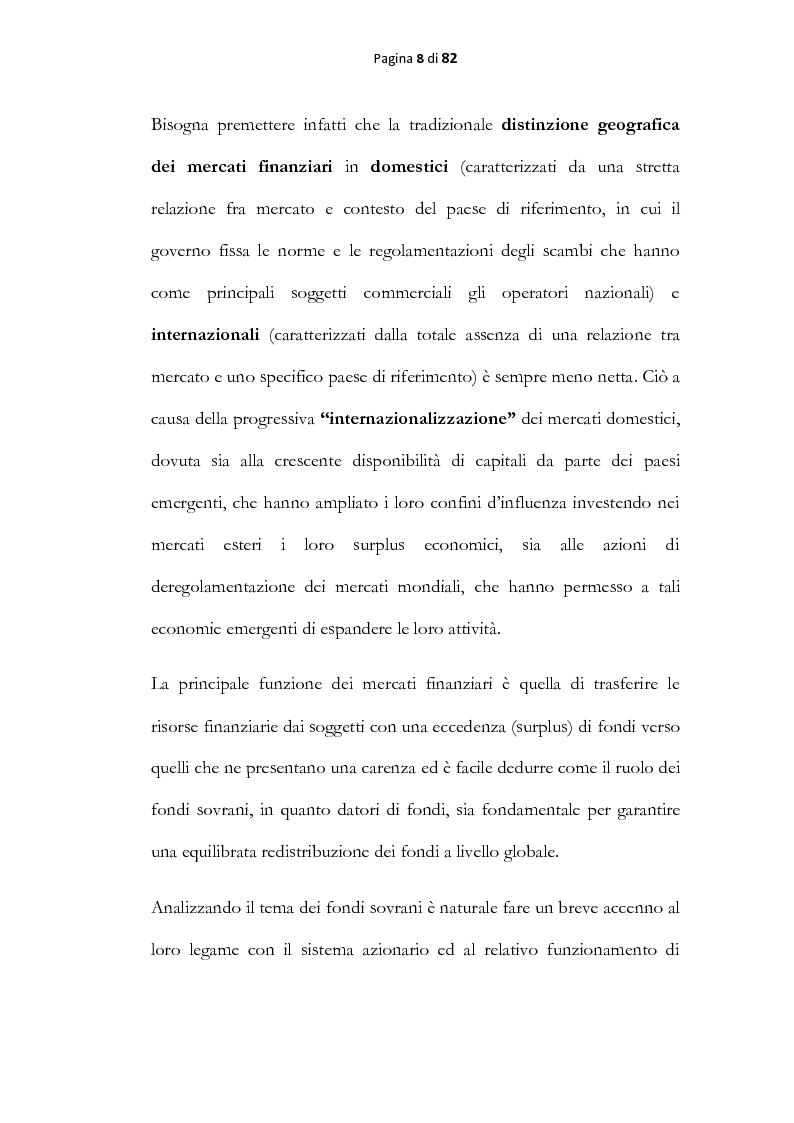 Anteprima della tesi: Analisi economica dei fondi sovrani, Pagina 6