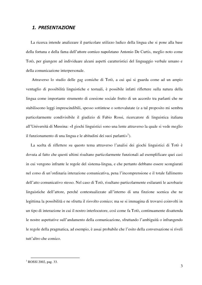 Anteprima della tesi: Totò e la funzione ludica della lingua - l'umorismo della riflessione metalinguistica e dell'ambiguità semantica, Pagina 2