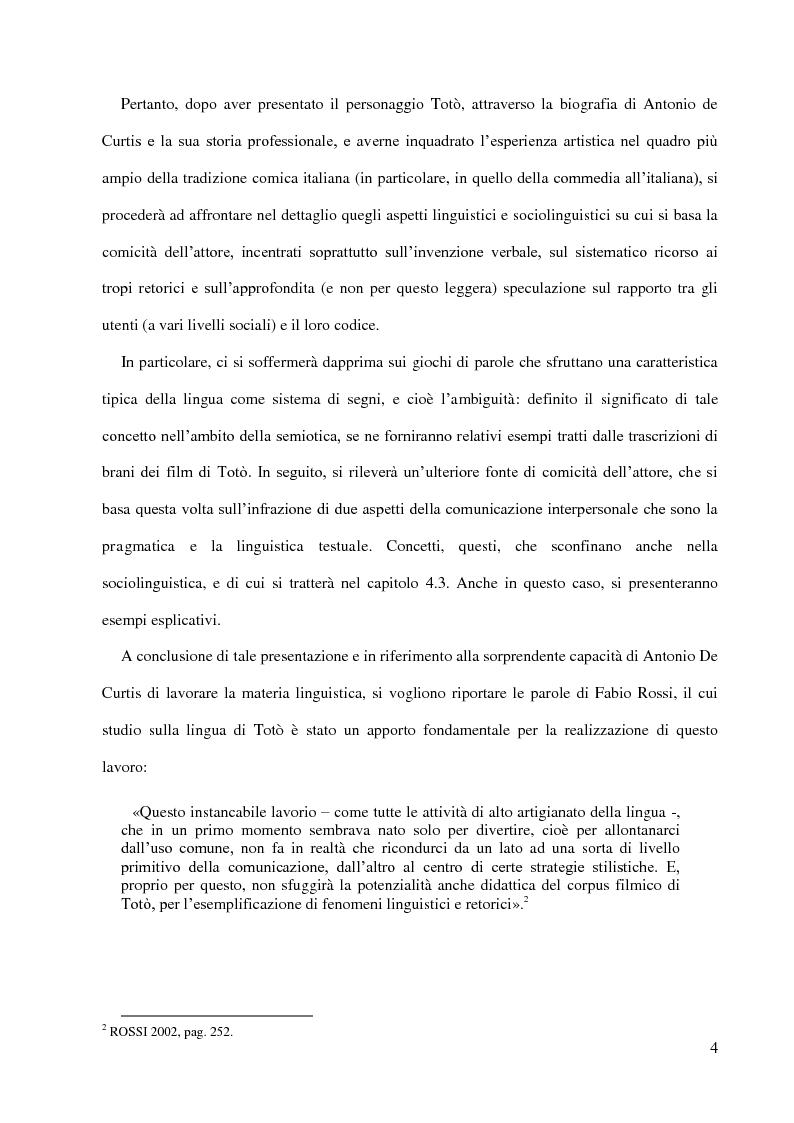 Anteprima della tesi: Totò e la funzione ludica della lingua - l'umorismo della riflessione metalinguistica e dell'ambiguità semantica, Pagina 3