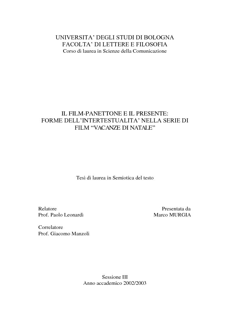 Anteprima della tesi: Il film-panettone e il presente: forme dell'intertestualità nella serie di film ''Vacanze di Natale'', Pagina 1