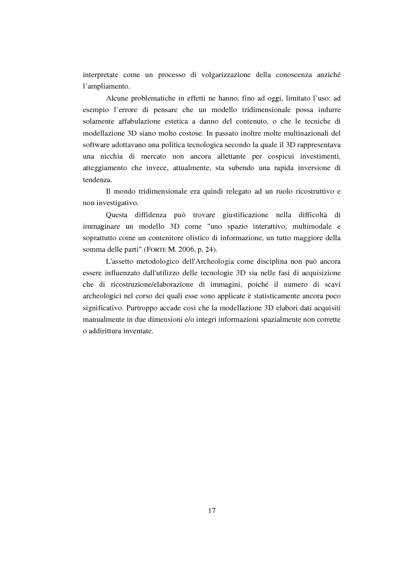 Anteprima della tesi: Modellizzazione tridimensionale dello spazio archeologico: l'esempio applicativo di Rontana, Pagina 10