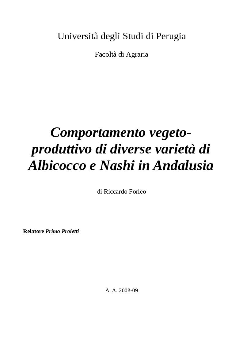 Anteprima della tesi: Comportamento vegeto-produttivo di diverse varietà di albicocco e nashi in Andalusia, Pagina 1