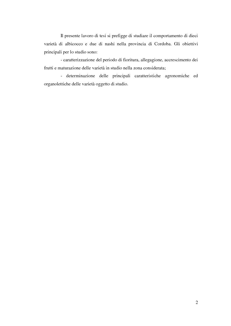 Anteprima della tesi: Comportamento vegeto-produttivo di diverse varietà di albicocco e nashi in Andalusia, Pagina 3