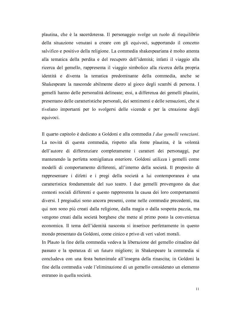 Anteprima della tesi: La commedia degli equivoci ovvero dell'identità scambiata. Plauto, Shakespeare e Goldoni, Pagina 7