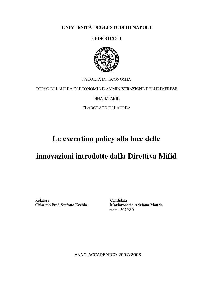 Anteprima della tesi: Le Execution Policy alla luce delle innovazioni introdotte dalla Direttiva Mifid, Pagina 1