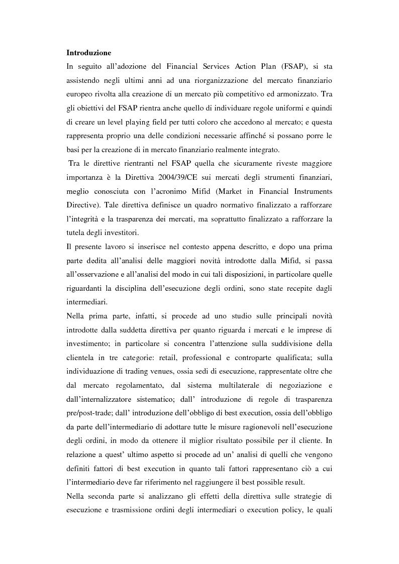 Anteprima della tesi: Le Execution Policy alla luce delle innovazioni introdotte dalla Direttiva Mifid, Pagina 2