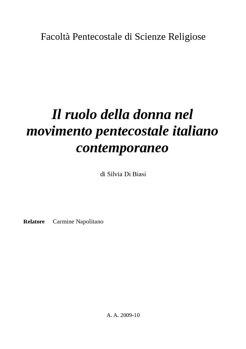 Anteprima della tesi: Il ruolo della donna nel movimento pentecostale italiano contemporaneo, Pagina 1