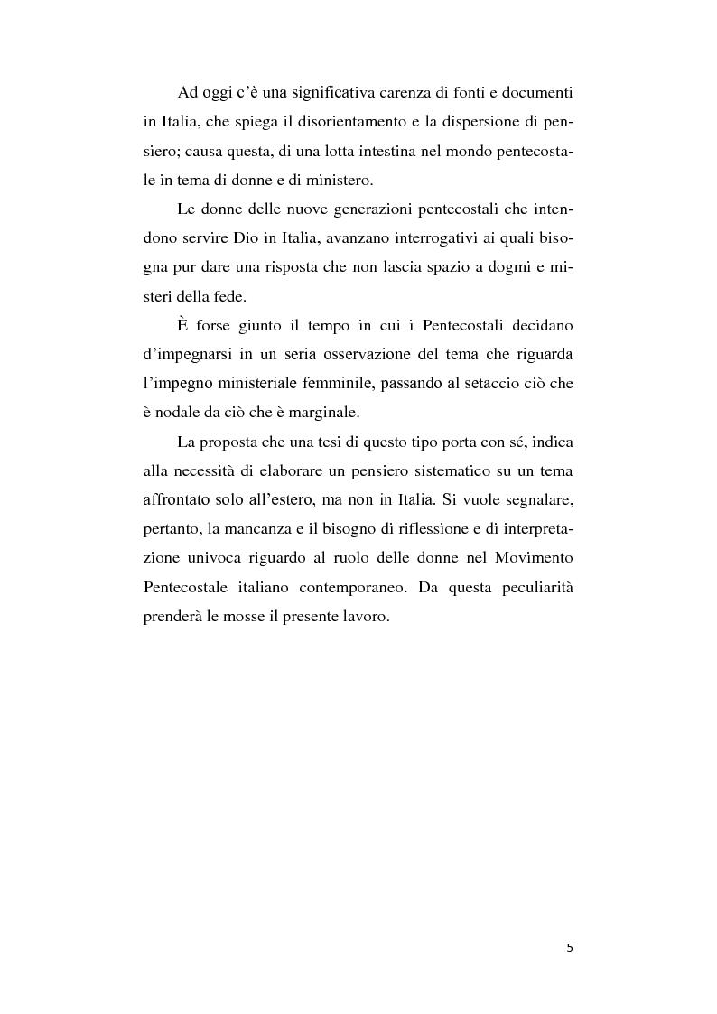 Anteprima della tesi: Il ruolo della donna nel movimento pentecostale italiano contemporaneo, Pagina 3