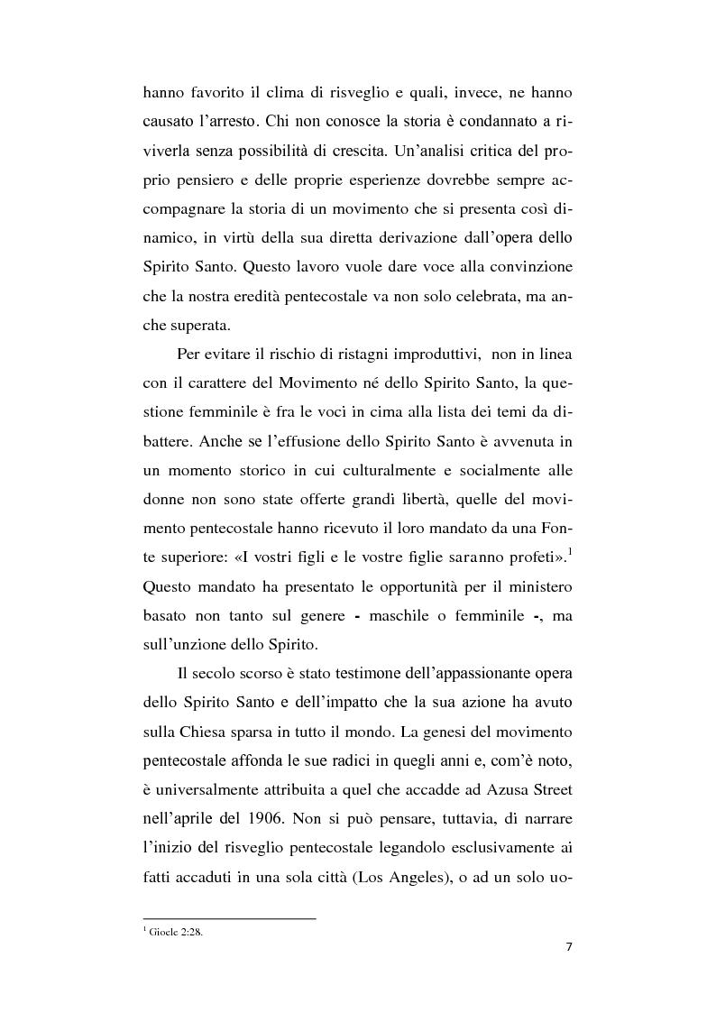 Anteprima della tesi: Il ruolo della donna nel movimento pentecostale italiano contemporaneo, Pagina 5