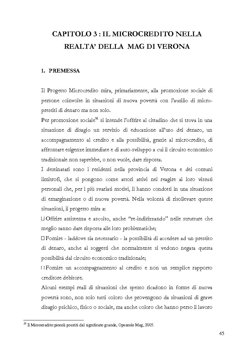 Anteprima della tesi: Il microcredito relazionale e sociale: il lavoro della Mag di Verona, Pagina 2