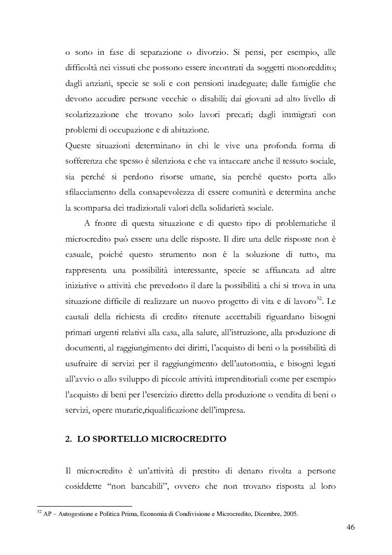 Anteprima della tesi: Il microcredito relazionale e sociale: il lavoro della Mag di Verona, Pagina 3