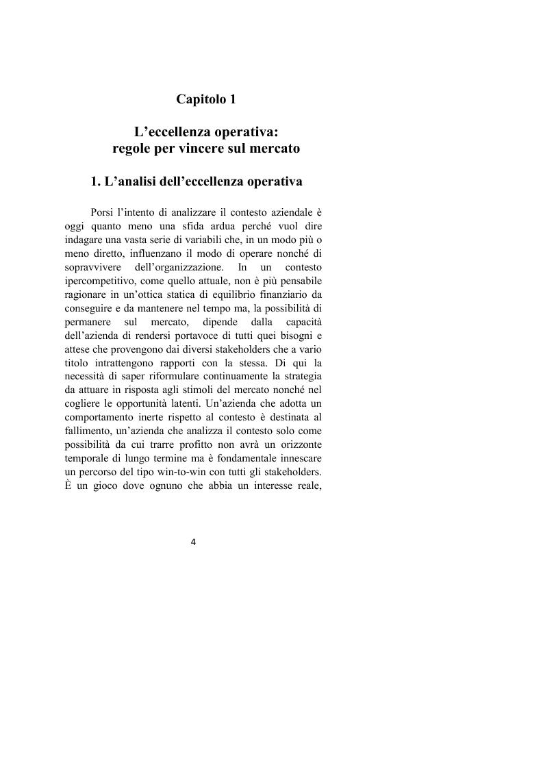 Anteprima della tesi: Il controllo dei processi aziendali: l'eccellenza operativa, Pagina 2