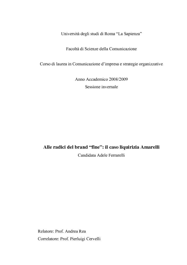 """Anteprima della tesi: Alle radici del brand """"fine"""": il caso liquirizia Amarelli, Pagina 1"""