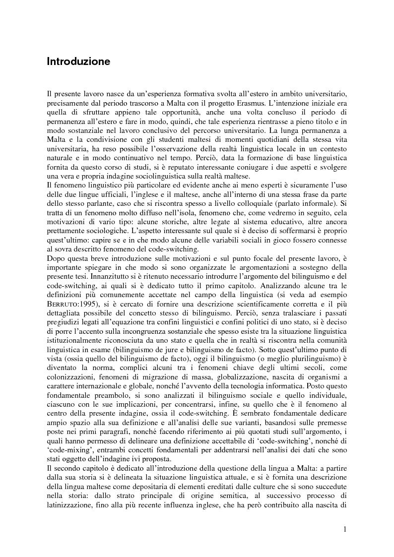 Anteprima della tesi: Il code-switching a Malta, Pagina 2