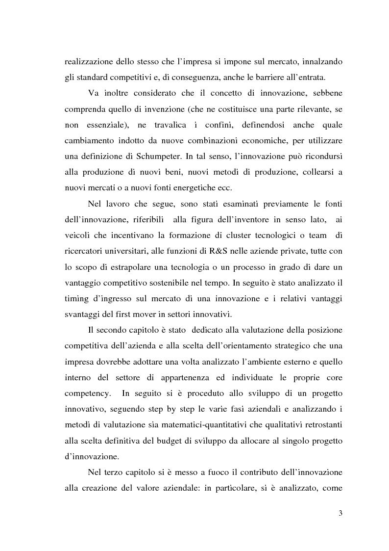 Anteprima della tesi: Innovazione come fonte di vantaggio competitivo e creazione di valore: il caso aziendale Fastweb, Pagina 3