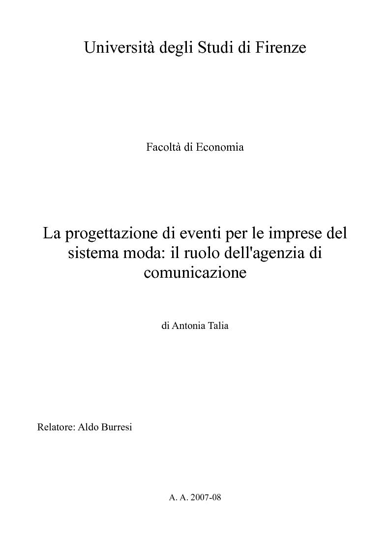 Anteprima della tesi: La progettazione di eventi per le imprese del sistema moda: il ruolo dell'agenzia di comunicazione, Pagina 1