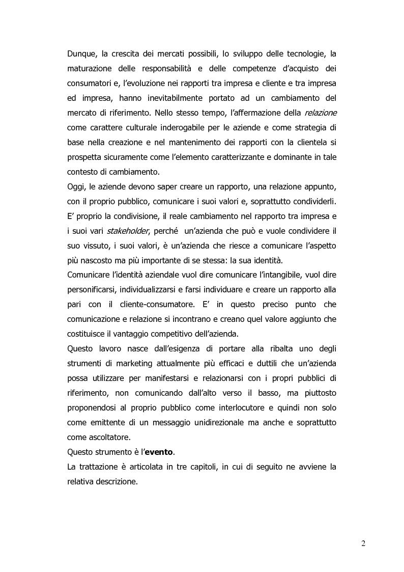 Anteprima della tesi: La progettazione di eventi per le imprese del sistema moda: il ruolo dell'agenzia di comunicazione, Pagina 3