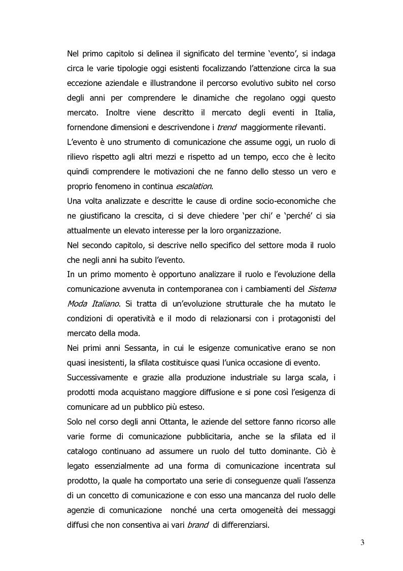 Anteprima della tesi: La progettazione di eventi per le imprese del sistema moda: il ruolo dell'agenzia di comunicazione, Pagina 4