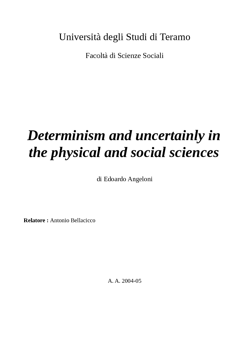 Anteprima della tesi: Determinism and uncertainly in the physical and social sciences, Pagina 1