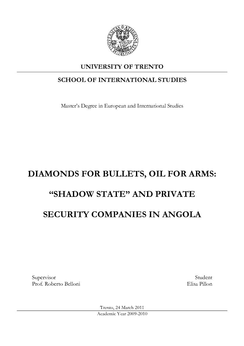 Anteprima della tesi: Diamonds for Bullets, Oil for Arms: ''Shadow State'' and Private Security Companies in Angola., Pagina 1