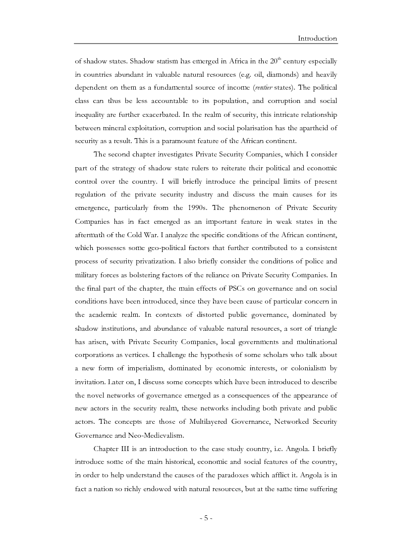Anteprima della tesi: Diamonds for Bullets, Oil for Arms: ''Shadow State'' and Private Security Companies in Angola., Pagina 6