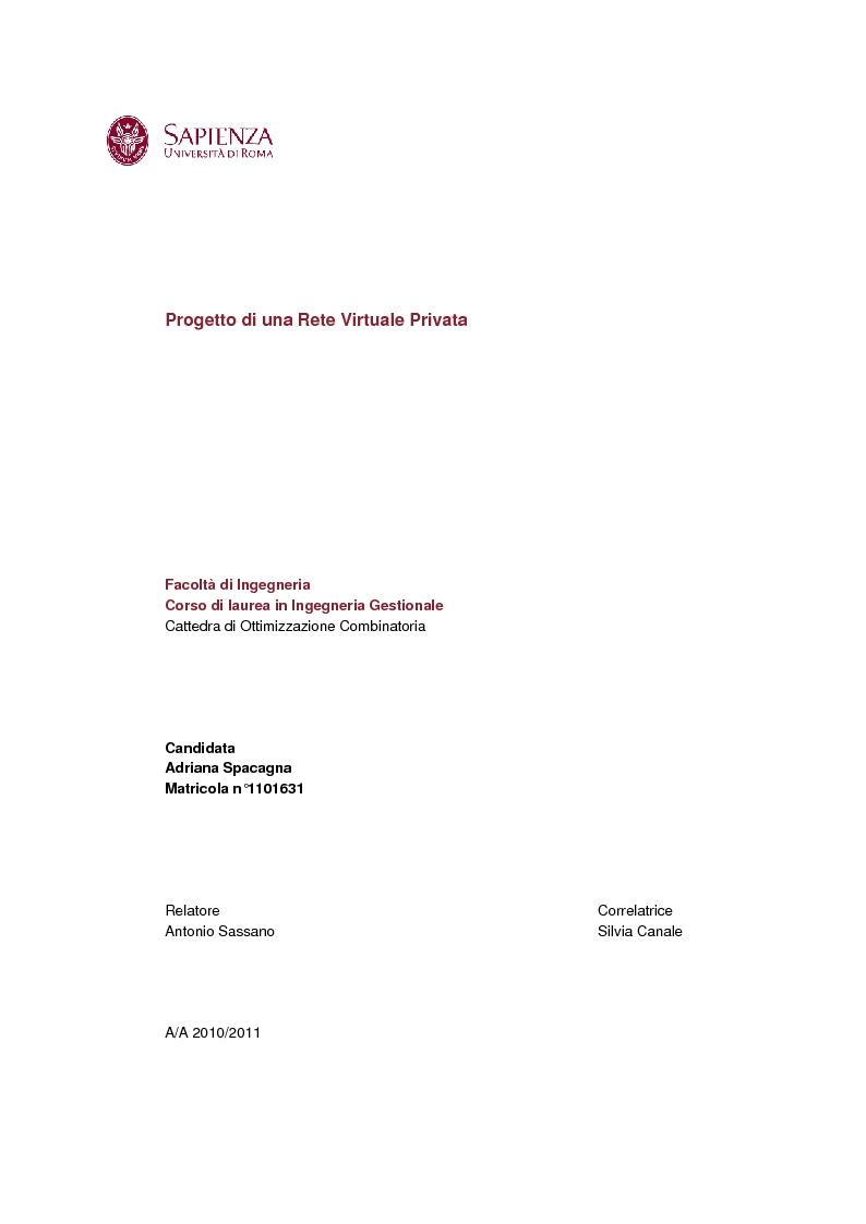 Anteprima della tesi: Progetto di una Rete Virtuale Privata (VPN), Pagina 1