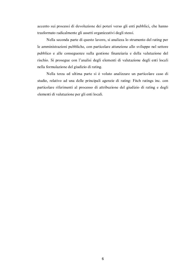 Anteprima della tesi: Lo strumento del rating per la valutazione della solidità finanziaria dell'ente locale: Il caso di Fitch Ratings inc., Pagina 4