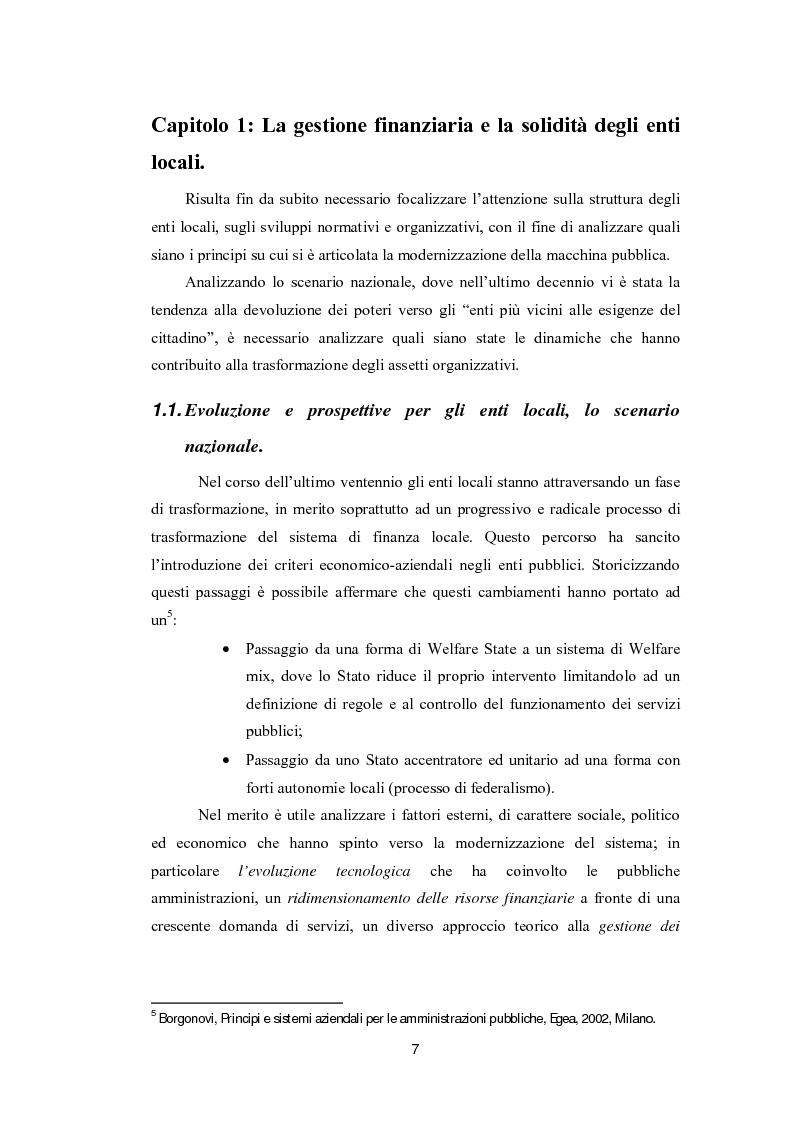 Anteprima della tesi: Lo strumento del rating per la valutazione della solidità finanziaria dell'ente locale: Il caso di Fitch Ratings inc., Pagina 5