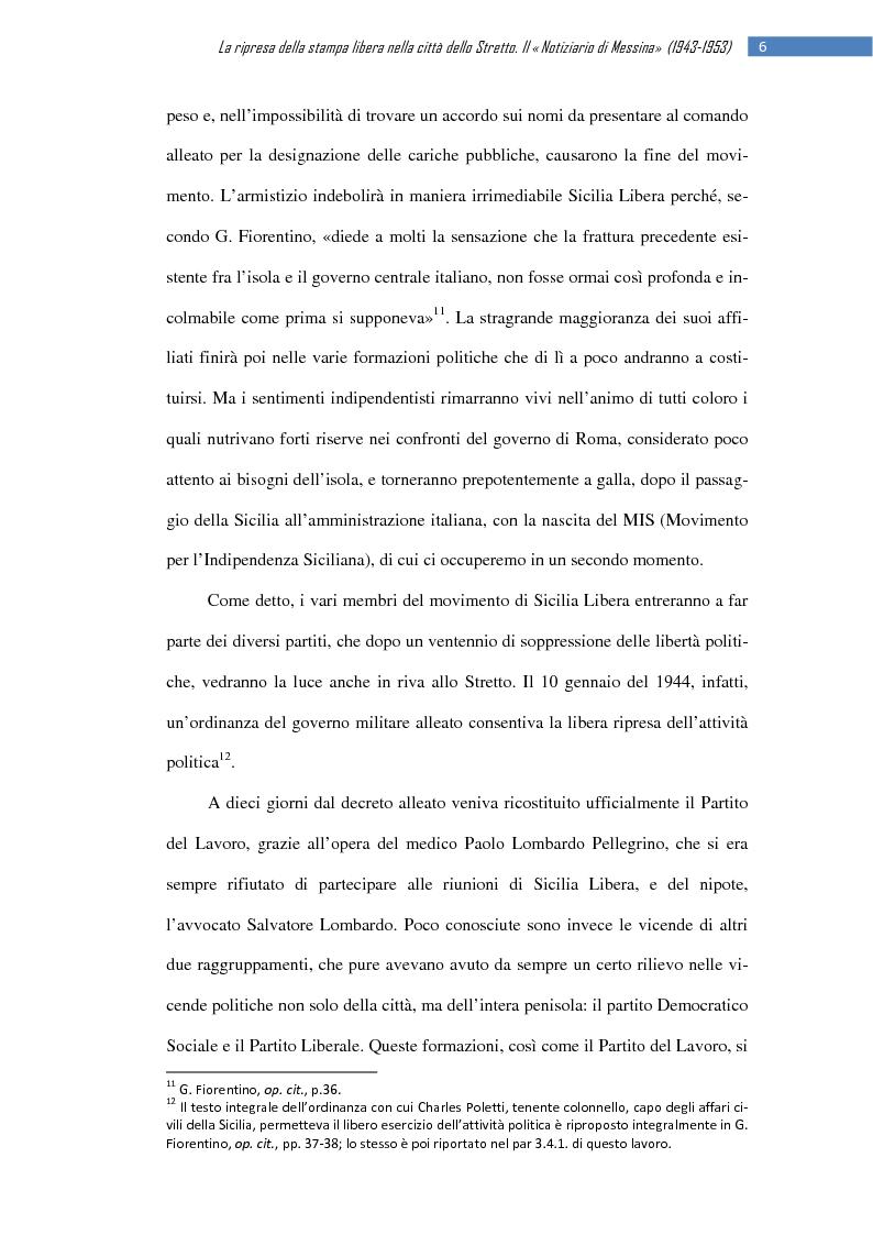 Anteprima della tesi: La ripresa della stampa libera nella città dello Stretto: il «Notiziario di Messina» (1943-1953), Pagina 12