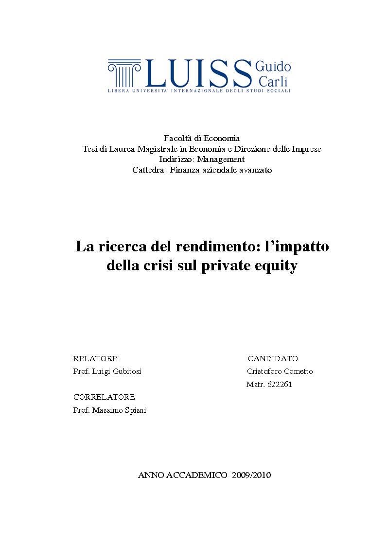 Anteprima della tesi: La ricerca del rendimento: l'impatto della crisi sul private equity, Pagina 1
