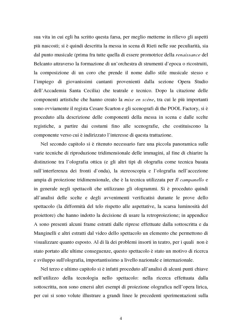 Anteprima della tesi: La messa in scena de ''Il campanello'' di Donizetti al ''Reate Festival'' di Rieti tra tradizione e tecnologie: olografia e scenografia, Pagina 3