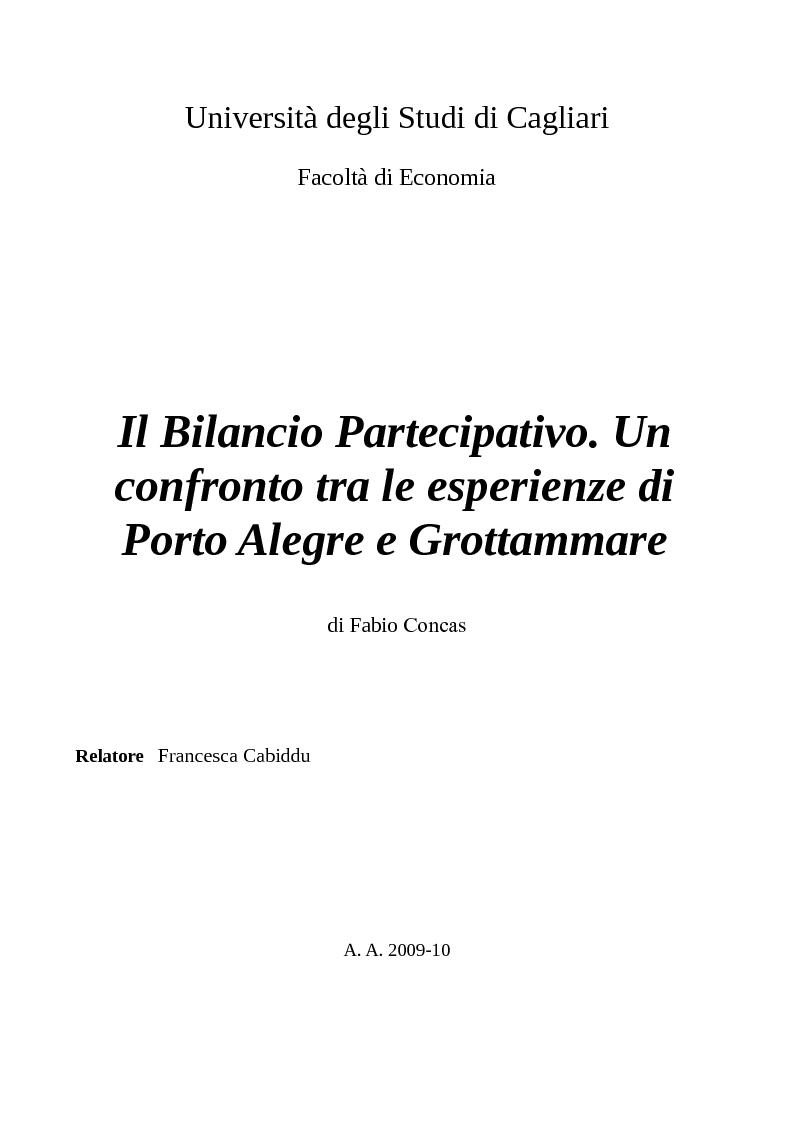 Anteprima della tesi: Il Bilancio Partecipativo. Un confronto tra le esperienze di Porto Alegre e Grottammare, Pagina 1