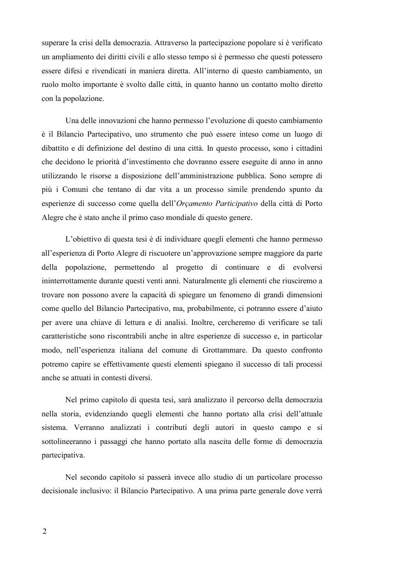 Anteprima della tesi: Il Bilancio Partecipativo. Un confronto tra le esperienze di Porto Alegre e Grottammare, Pagina 3