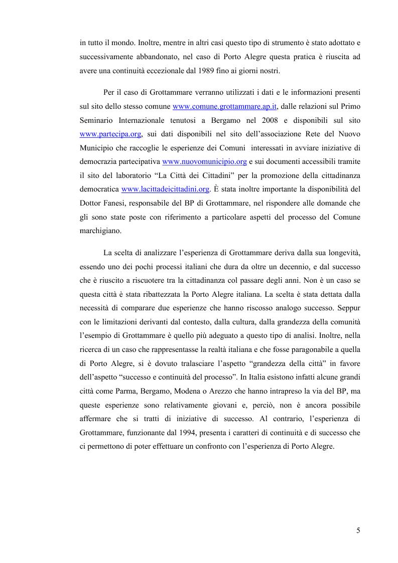 Anteprima della tesi: Il Bilancio Partecipativo. Un confronto tra le esperienze di Porto Alegre e Grottammare, Pagina 6