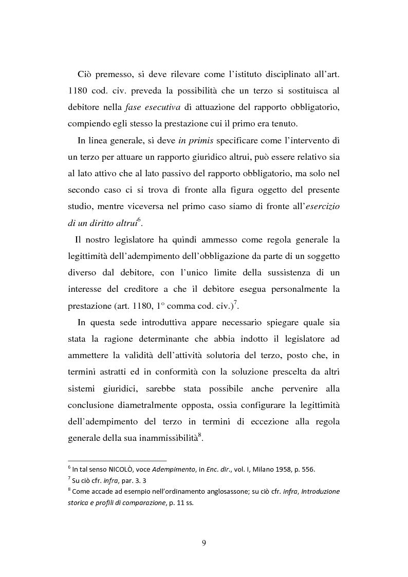 Anteprima della tesi: L'adempimento del terzo: struttura, disciplina e recupero della prestazione nella prospettiva dei rapporti trilateri, Pagina 10