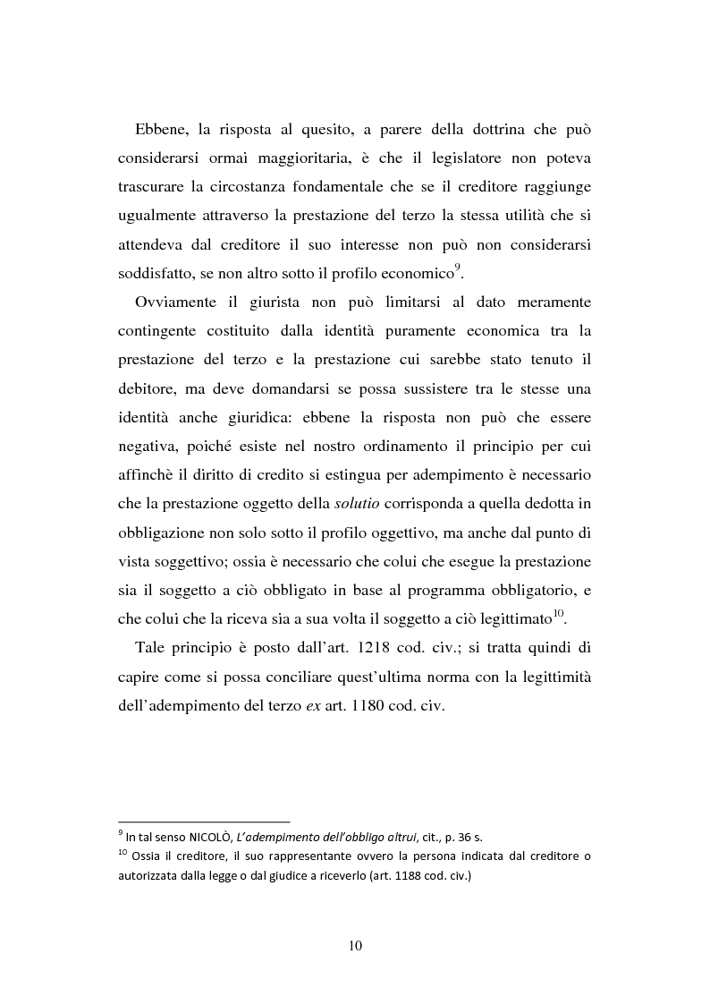 Anteprima della tesi: L'adempimento del terzo: struttura, disciplina e recupero della prestazione nella prospettiva dei rapporti trilateri, Pagina 11