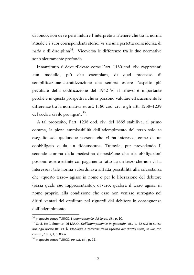 Anteprima della tesi: L'adempimento del terzo: struttura, disciplina e recupero della prestazione nella prospettiva dei rapporti trilateri, Pagina 13