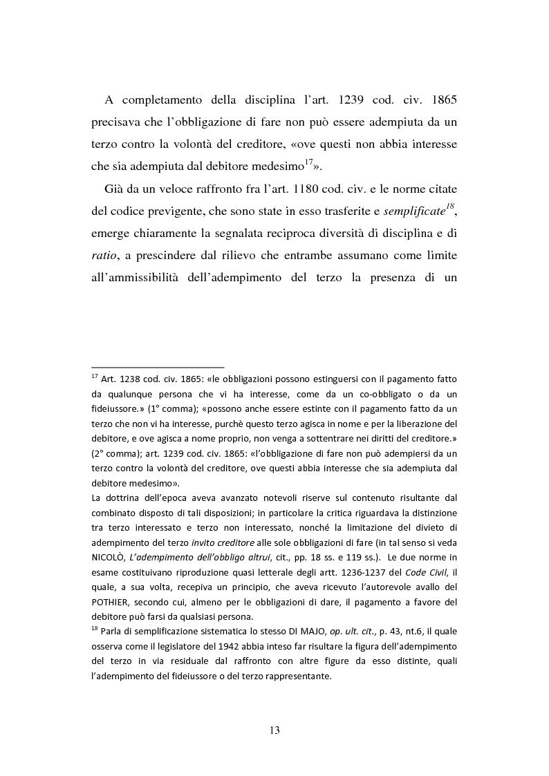 Anteprima della tesi: L'adempimento del terzo: struttura, disciplina e recupero della prestazione nella prospettiva dei rapporti trilateri, Pagina 14